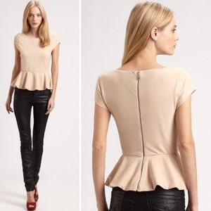 Alice Olivia Employed Ella Nude Tan Peplum Tee